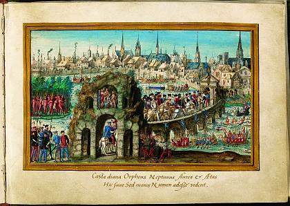L'entrée royale d'Henri II à Rouen  •  Légende: Fête brésilienne et Triomphe de la rivière¿, Rouen,  extraite de vingt-sept feuillets décorés sur vélin, 1550, estampe
