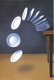 Rohner, La chute d'assiettes, huile sur toile, 1983