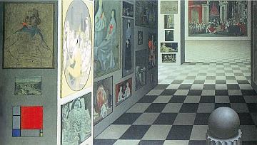 Rohner, Le musée imaginaire, huile sur toile, 1974\/1975