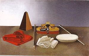 Rohner, Violon plat étoffe rouge, nature morte au métronome, huile sur toile, 1984