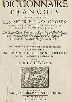 Page 1 du Dictionnaire françois contenant les mots et les choses de Pierre Richelet, 1ère édition 1680