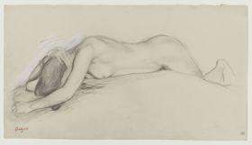 Femme nue couchée sur le ventre, la tête entre les bras, étude pour Scène de guerre au Moyen Âge, 1863-65