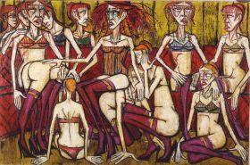Les Folles - Femmes au salon, 1970, huile sur toile, 200 x 300 cm. Donation Virginie, Danielle et Nicolas Buffet au Musée d'Art moderne de la ville de Paris 2011