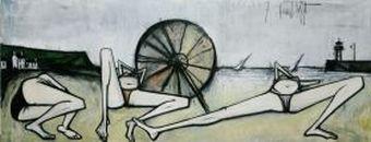 Les Plages - Le parasol, 1967, huile sur toile, 200 x 524 cm. Donation Virginie, Danielle et Nicolas Buffet au Musée d'Art moderne de la ville de Paris 2011