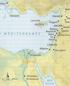 Carte de localisation des sites du Proche-Orient au IIIe et IIe millénaire av. J.-C.