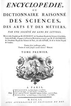 Page de titre du premier tome de l'Encyclopédie ou Dictionnaire raisonné des sciences, des arts et des métiers, 1751