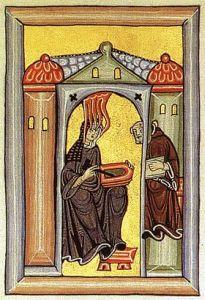 Hildegarde recevant l'inspiration divine, manuscrit médiéval