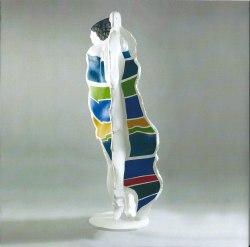 """Claude Abeille, """" Grand Tango Bleu """", 2011, résine polychrome, numérotée 1\/16, 200 X 75 X 65 cm"""