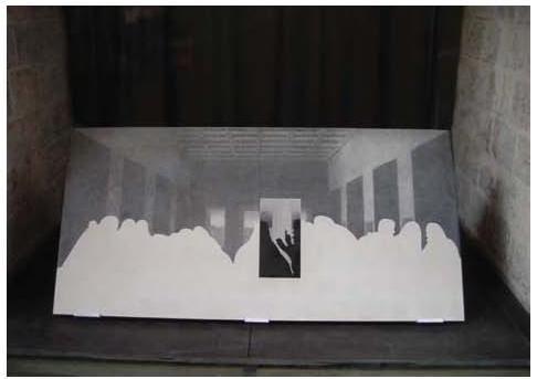 """Milène Guermont, """"nOsTRA CENA"""", gravure colorée noire sur béton blanc, Exposition """"Mémoires Sensibles!"""" de Milène Guermont, Musée des Archives nationales, juin 2012"""