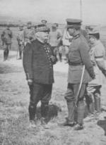 Le général Joffre et Albert Ier, roi des Belges, automne 1914.