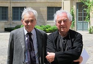 Jacques-Louis Binet, correspondant de l'Académie des beaux-arts et Daniel Buren, créateur de {Excentrique(s), Travail in situ} au Grand Palais