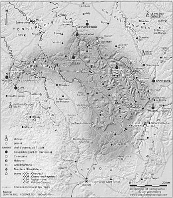 carte de l'Auxois au XIII<sup>e<\/sup> siècle