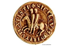Moulage de l'avers de la boule de l'ordre du Temple représentant deux cavaliers sur un même cheval. Symbole de la double identité templière, ce sceau évoque l'association du moine et du soldat, unis pour la défense des Lieux saints.