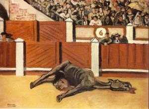 Yves Brayer, Scène de corrida à Madrid ou le cheval mort, 1927