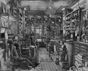 Érik Desmaziéres (né en 1948), Le magasin de Robert Capia, 2008, eau-forte pure sur vélin B F K Rives, épreuve du 3ème état sur 10, 71,3 x 89,5 cm, imprimeur René Tazé, Paris