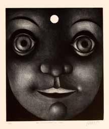 """Mario Avati (1921-2009), """"En regardant la lune, 1956, manière noire sur cuivre, 30 x 26 cm musée du dessin et de l'estampe originale, Gravelines"""