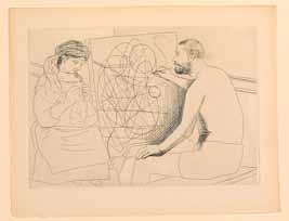 Pablo Picasso, Peintre et modèle tricotant - Le chef d'oeuvre inconnu de Balzac, 1927, eau-forte, Musée du dessin et de l'estampe originale, Gravelines