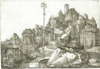 Albrecht Dürer, Saint Antoine lisant sur la colline, 1519, 9,5 x 14,1 cm, Paris, Bibliothèque nationale de France