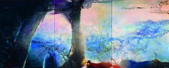 Zao Wou-ki, Hommage à Claude Monet, triptyque, 1991, Huile sur toile, 194 X486 cm, collection particulière, photo Jean-Louis Losi. Zao Wou-ki
