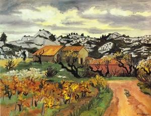 Yves Brayer, Paysage de Provence à l'Automne, 1977