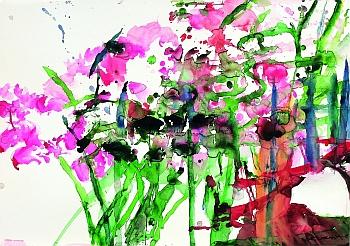 Zao Wou-Ki, Sans titre (Paris), aquarelle sur papier 70,5 X 100 cm, 2008, Photo Dennis Bouchard