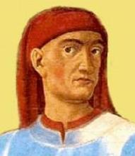 Portrait de Boccace, détail d'une œuvre de Andrea del Castagno, 1449.
