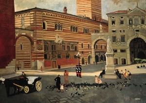 Yves Brayer, La place des seigneurs à Vérone, 1948