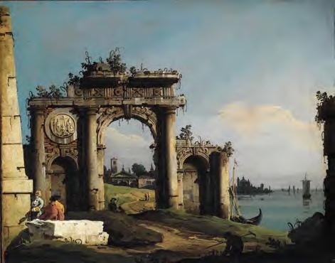 Bernardo Bellotto Caprice avec un arc de triomphe sur le bord de la lagune Huile sur toile 40,5 x 49 cm