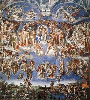 Le Jugement dernier de Michel -Ange sur le mur d'autel de la chapelle Sixtine