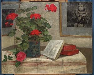 Nature morte aux géraniums Huile sur toile, signé en bas à droite 72 x 90 cm Collection particulière