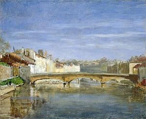 Paysage au pont Huile sur toile 37 x 46 cm Fondation Annie et Denis Rouart, musée Marmottan Monet, Paris