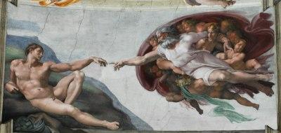 Création d'Adam par Michel-Ange; voûte de la chapelle Sixtine