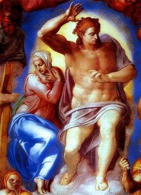 Détail, le Christ et la Vierge, Le Jugement dernier de Michel -Ange sur le mur d'autel de la chapelle Sixtine
