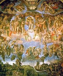 Fresque du  Jugement dernier (1536-41)  de Michel-Ange
