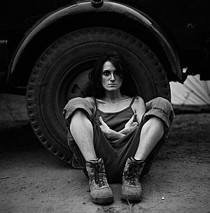 "Katharine Cooper, ""Delphine and the Wheel  Mana Pools"", Zimbabwe 2004"