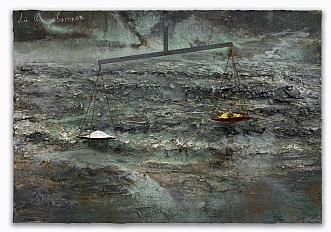 die Ungeborenen, 2011 Oil, emulsion, acrylic, shellac, sediment of an electrolysis, chalk, iron and salt on canvas 190 x 280 x 45 cm