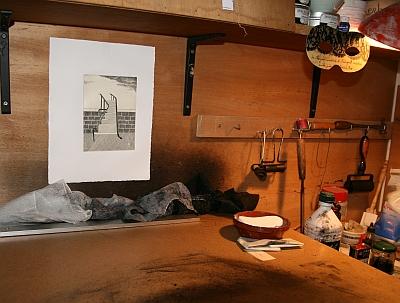 Table d'encrage, atelier de gravure de Louis-René Berge de l'Académie des beaux-arts, 28 septembre 2012