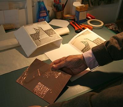 Plaque de cuivre et essais d'impression, atelier de Louis-René Berge de l'Académie des beaux-arts, 28 septembre 2012
