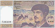 Billet de 20 francs émis par la Banque de Fance mis en circulation le 6 octobre 1981 jusqu'à l'arrivée de l'euro où il a été retiré de la circulation en février 2002