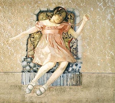 Pierre Carron, La robe rose sur le fauteuil bleu - huile sur toile - 130x162cm - 1985