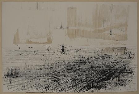 """Jean Anguera, """"Le trait bleu"""", 2011, résine polyester, encre de Chine et acrylique, pastel bleu sur papier Hahnemühle, dimensions hauteur 80 cm x largeur 220 cm"""