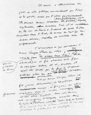 Editorial du Point datant du 18 février 1995 et intitulé: Les passions de Vargas-Llosa