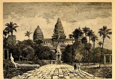 Facade of Angkor Wat, a drawing by Henri Mouhot, 1855