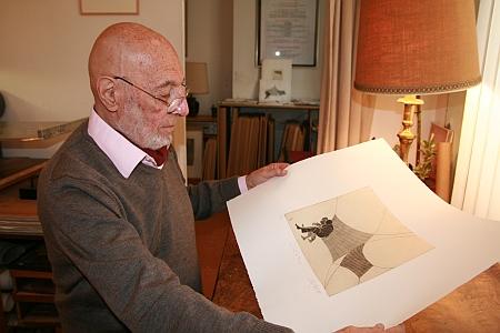 Louis-René Berge dans son atelier le 28 septembre 2012